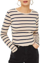 Topshop Stripe Lettuce Trim T-Shirt