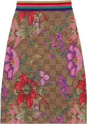 Gucci floral print monogram skirt