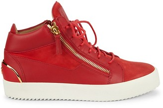 Giuseppe Zanotti Padded Collar Suede Leather Mid-Top Sneakers