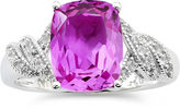 JCPenney FINE JEWELRY Lab Created Pink Cushion & White Sapphire Ring