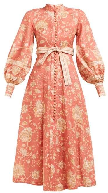 Zimmermann Veneto Border Paisley Print Linen Dress - Womens - Red