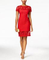 Tadashi Shoji Pintuck Illusion Lace Dress