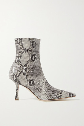 A.W.A.K.E. Mode Agnes Coated Snake-effect Faux Suede Ankle Boots - Snake print