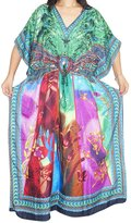 Mogul Interior Womens Kaftan Printed Kimono Caftan Cover Up Boho Maxi Beach Dress