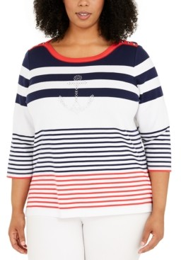 Alfred Dunner Plus Size Ship Shape Striped Sweater