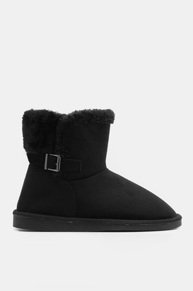 Ardene Faux Suede Boots with Buckle - Shoes |