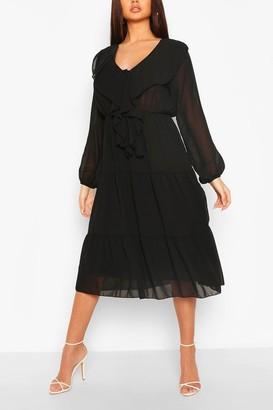 boohoo Chiffon Ruffle Front Midi Dress