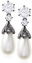 Kenneth Jay Lane Cz By Vintage Inspired Cz and Pearl Post Earrings