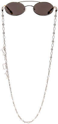 Alessandra Rich Small Oval Sunglasses in Silver & Grey | FWRD