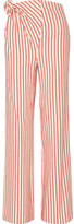 Rosie Assoulin Top Knot Striped Linen And Cotton-blend Pants - Red