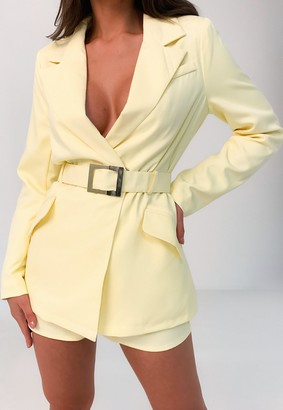 Missguided Yellow Co Ord Belted Blazer