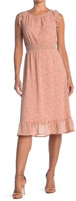 ALL IN FAVOR Ruffle Trim Smocked Dress