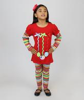 Red Ornament Tunic & Striped Leggings - Infant