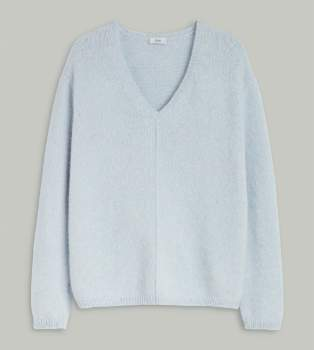 Closed Pearl Alpaca C96509 98L 22 Knit Pull Royal Baby V Neck Sweater - alpaca wool | pearl | X Small - Pearl