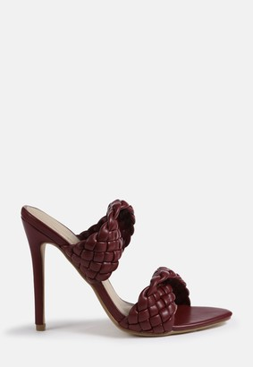 Missguided Burgundy Double Woven Strap Heeled Sandals