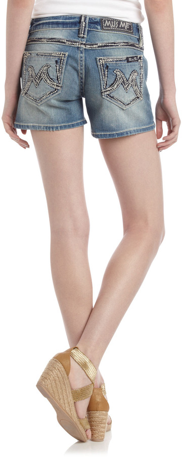 Miss Me Heavy-Stitch Shorts, Laelia