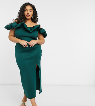 True Violet Plus Exclusive scrunchie bardot midi dress with thigh split in emerald green
