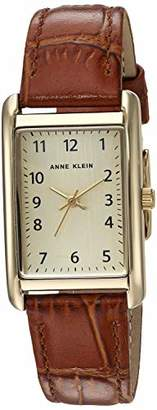 Anne Klein Women's Easy to Read Gold-Tone and Honey Brown Croco-Grain Leather Strap Watch
