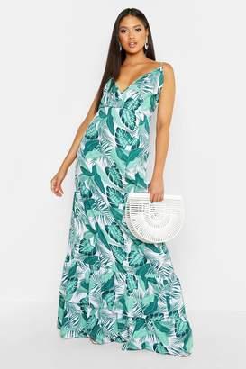 boohoo Tall Palm Print Ruffle Hem Maxi Dress