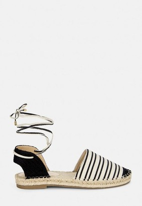 Missguided Black Striped Flat Espadrille Shoes