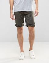 Asos Denim Shorts In Skinny With Camo Turn Up In Khaki