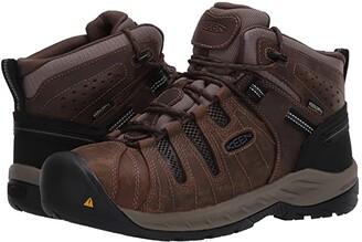 Keen Flint II Mid Waterproof (Steel Toe) (Cascade Brown/Orion Blue) Men's Work Boots