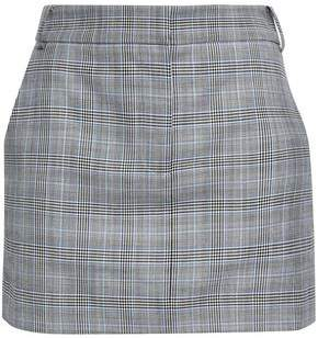 Tibi Prince Of Wales Checked Wool And Silk-blend Mini Skirt