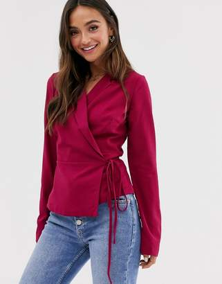 Glamorous wrap front blouse with tie detail-Pink