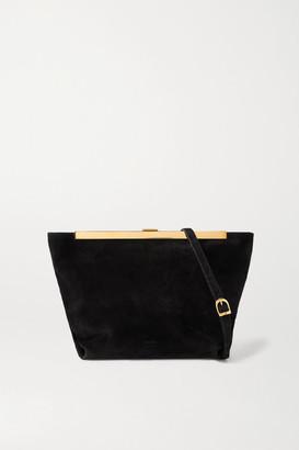 KHAITE Augusta Envelope Pleat Suede Shoulder Bag - Black