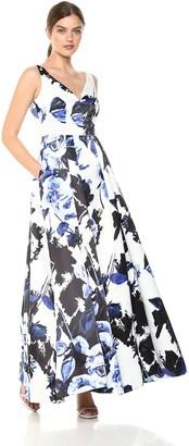 Aidan Mattox Aidan Women's Sleeveless Floral Ball Gown Blue/Multi 2