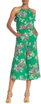 London Times Floral Ruffled Keyhole Culotte Jumpsuit