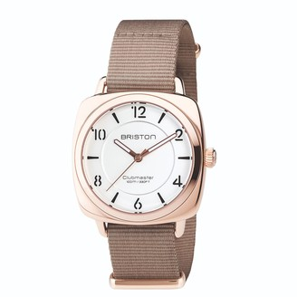 Briston Watches Briston Clubmaster Chic Steel, White Dial And Rose Gold And Taupe Nato Strap