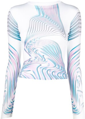 MAISIE WILEN Abstract-Print Long-Sleeve Top