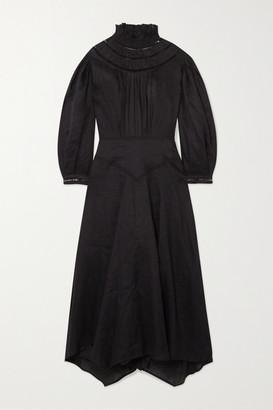 Etoile Isabel Marant Albane Pointelle-trimmed Linen Midi Dress - Black