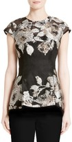 Lela Rose Women's Floral Jacquard Fil Coupe Top