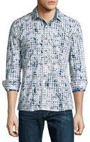 Robert Graham Diamond-Pattern Long-Sleeve Sport Shirt, White