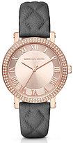 Michael Kors Norie Three-Hand Leather-Strap Watch