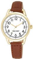 Nine West Ladies Quartz Goldtone Brown Leather Strap Watch
