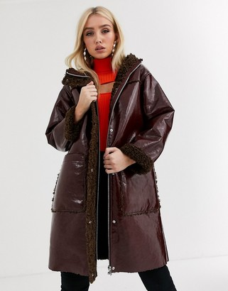 ASOS DESIGN vinyl parka with fleece lining