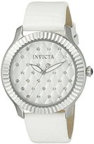 Invicta Women's 'Angel' Quartz Stainless Steel and White Leather Casual Watch (Model: 22561)