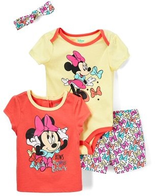 Minnie Mouse Disney Baby Girl T-shirt, Bodysuit, Short & Headband Outfit, 4pc set