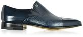 Moreschi Metz Blue Leather Slip on Loafer