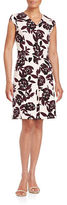 Lord & Taylor Ponte Print Fit-and-Flare Dress