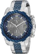 GUESS GUESS? Men's U1046G1 Stainless Steel Watch with Blue Carbon Fiber Look Center Link, Grey Dial & Date