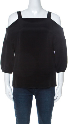 Tibbi Tibi Black Silk Cut Out Shoulder Tunic Top XS