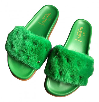 Valentino Rockstud Spike Green Mink Sandals