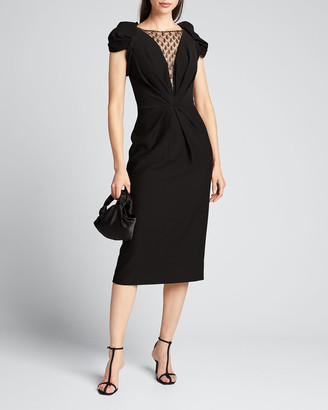 Jenny Packham V-Neck Detailed Cap-Sleeve Dress