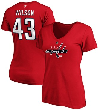Wilson Women's Fanatics Branded Tom Red Washington Capitals Authentic Stack Name and Number V-Neck T-Shirt