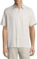 Neiman Marcus Cross-Print Short-Sleeve Shirt, Off White