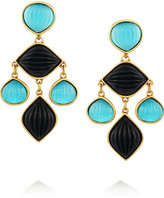 Gold-plated resin clip earrings